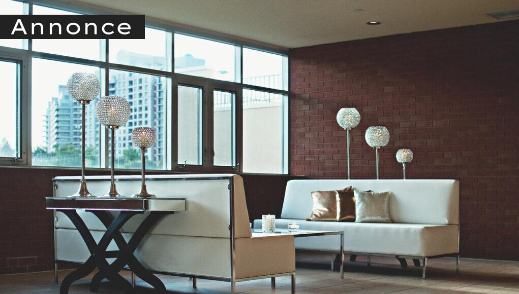 Stue med designer lamper